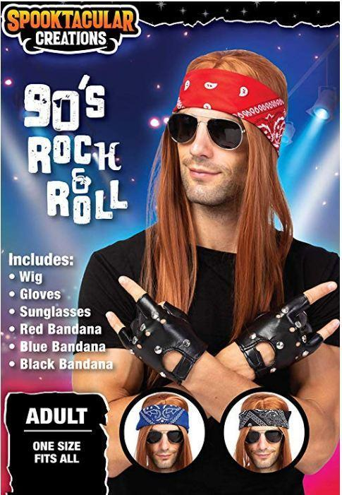 Rockstar 90s Heavy Metal Rocker Costume with Wig, Gloves, Sunglasses and Bandanas Halloween Costumes for Men - Spooktacular Creations