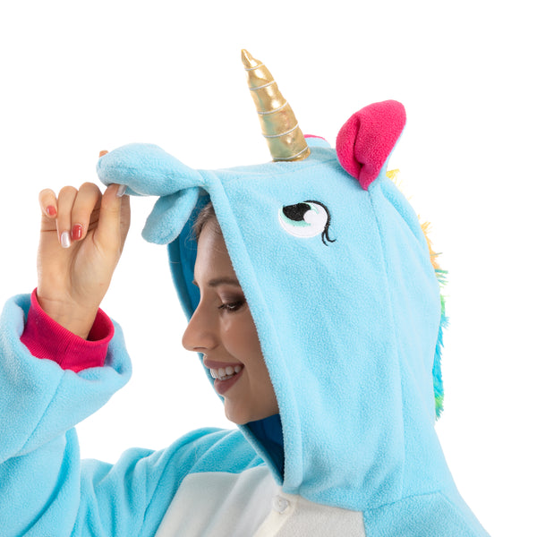 Blue Unicorn Pajamas Onesie - Adult