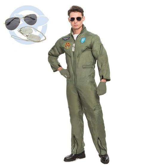 Men's Flight Pilot Adult Costume with Accessory for Halloween Top Gun Party(Large)