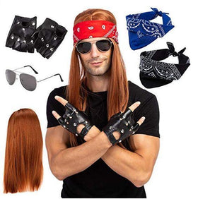 Rockstar 90s Heavy Metal Rocker Costume with Wig, Gloves, Sunglasses and Bandanas Halloween Costumes for Men