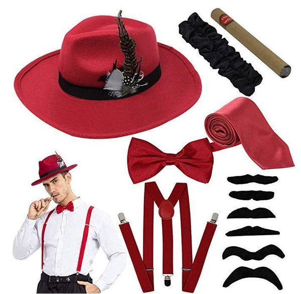 1920s Manhattan Mens Costume Accessories Gatsby Gangster Retro Set Fedora Hat - Spooktacular Creations