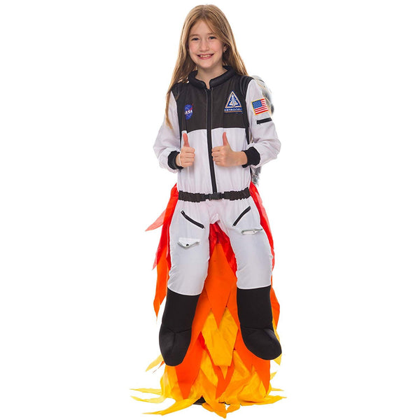 Kids Flying Astronaut Suit Halloween Dress Up Role-play Costume Flame Pants Jet Pack