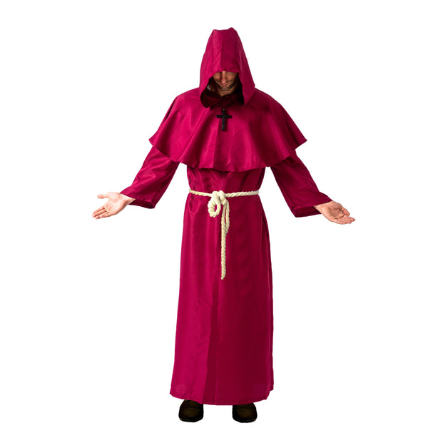 Medieval Hooded Monk Cloak Renaissance Priest Robe Halloween Costume - Adult - Spooktacular Creations