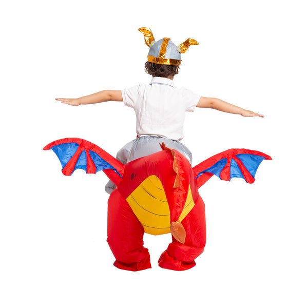 Inflatable Costume Dragon Riding a Fire Dragon Air Blow-up Deluxe Halloween Costume - Child - Spooktacular Creations
