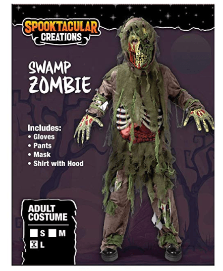Swamp Deluxe Skeleton Living Dead Zombie Costume for Halloween Kids Monster Role-Playing