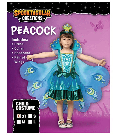 Peacock Dress with Feather Wings and Headband for Girls - Spooktacular Creations