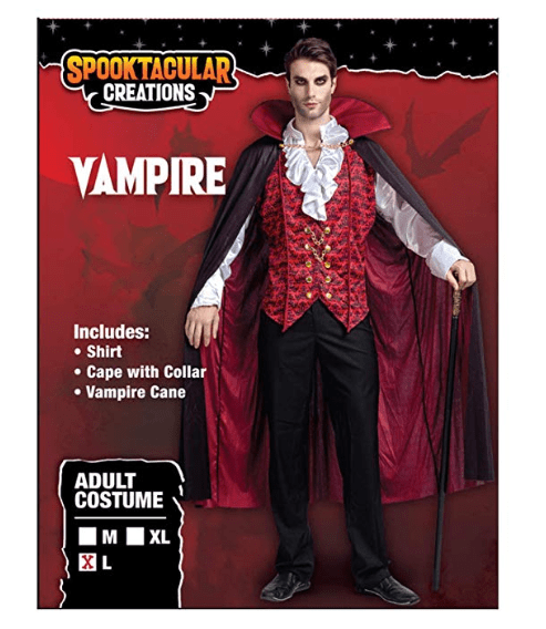 Renaissance Medieval Scary Vampire Deluxe Halloween Costume for Men