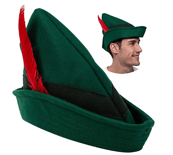 Felt Robin Hood Hats with Feather One Size Fits All for Adult