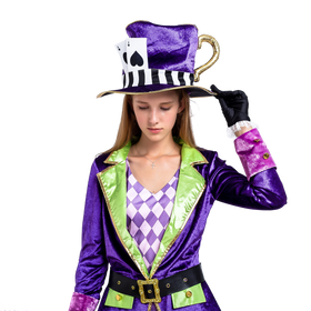 Crazy Mad Hatter Purple Victorian Circus Costumes for Women - Adult