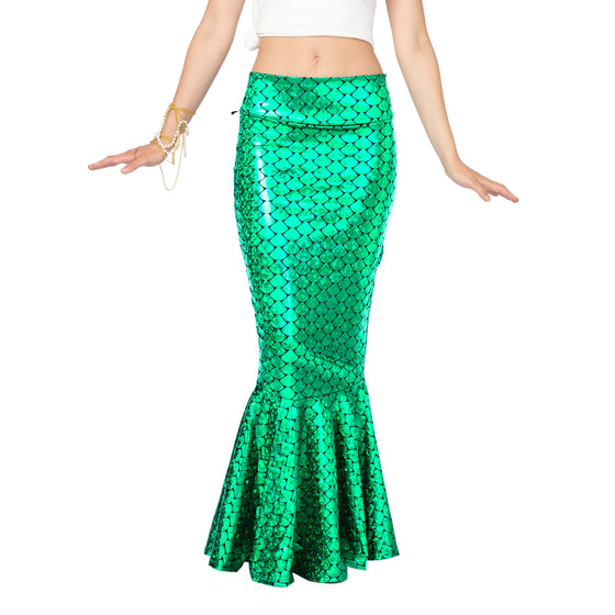 Metallic Hologram Shiny Mermaid Skirt Costume - Adult