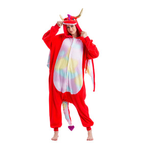 Red Dragon Animal Onesies Costume - Adult