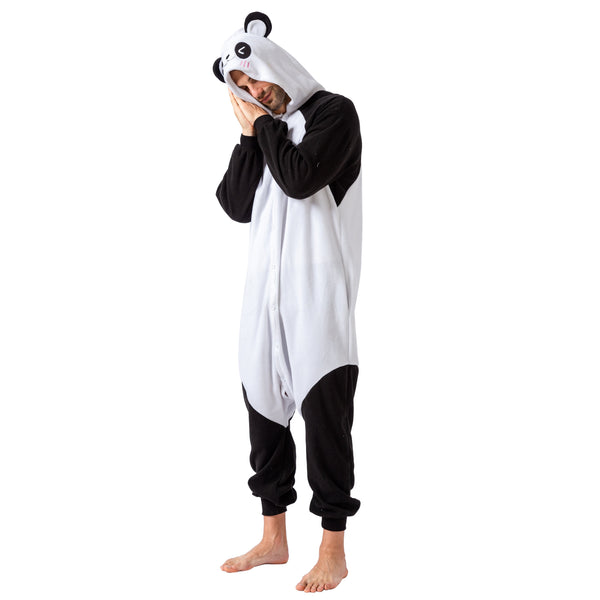 Unisex Adult Pajama Plush Onesie Panda Animal Costume - Spooktacular Creations