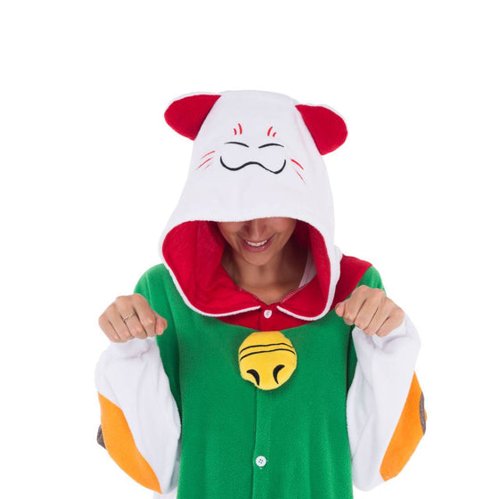 Lucky Cat Onesie Pajama Costume - Adult