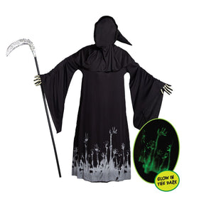 Grim Reaper Scary Skeleton Halloween Costumes with Glow Pattern for Men