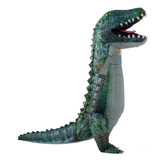 Inflatable Costume Full Body Alligator Air Blow-up Deluxe Halloween Costume - Adult Size Green