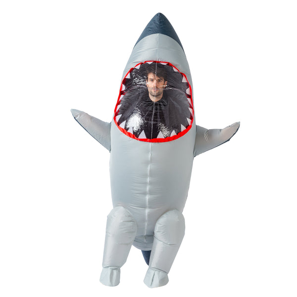 Inflatable Costume Full Body Shark Air Blow-up Deluxe Halloween Costume - Adult Size - Spooktacular Creations