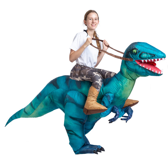 Inflatable Costume Dinosaur Riding a Raptor Air Blow-up Deluxe Halloween Costume - Adult Size