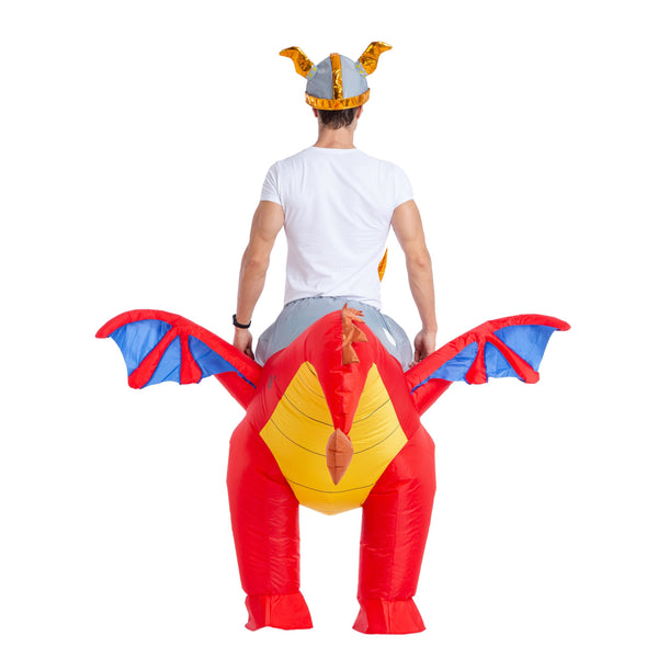 Inflatable Costume Riding a Fire or Ice Dragon Air Blow-up Deluxe Halloween Costume - Adult Size - Spooktacular Creations