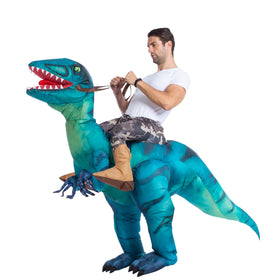 Inflatable Ride-On Blue Raptor Dinosaur Costume - Adult