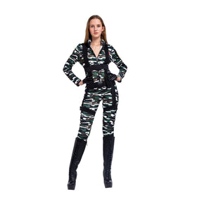 Halloween Women Paratrooper Army Jumpsuit, Military Camouflage Costume w/Hat, Gloves and Harness