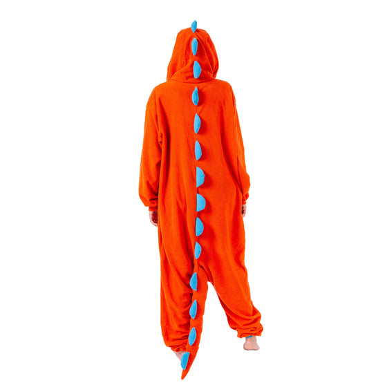 Orange Dinosaur Animal Onesie Pajama Costume - Adult