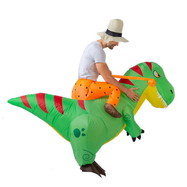 Inflatable Costume Dinosaur Riding a T-Rex Air Blow-up Deluxe Halloween Costume - Child/Adult - Spooktacular Creations