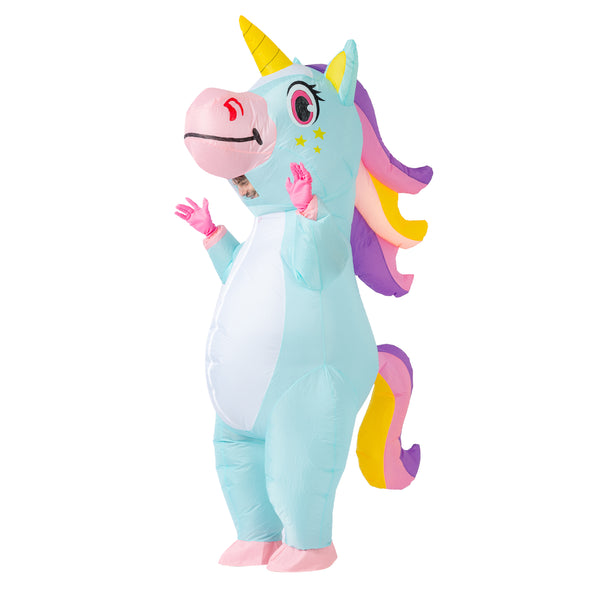 Inflatable Blue Rainbow Unicorn Costume