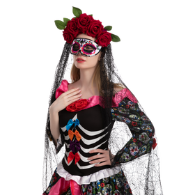 Day of the Dead 4 - Headband with Rose and Veil, Masquerade Eye Mask
