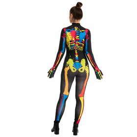 Skin-tight Colorful Skeleton Costume - Adult