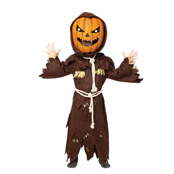 Scary Scarecrow Pumpkin Bobble Head Costume w/Pumpkin Halloween Mask for Kids