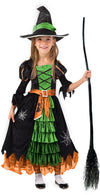 Fairytale Green Cute Witch Dress Halloween Costume Deluxe Set with Hat for Girls - Spooktacular Creations