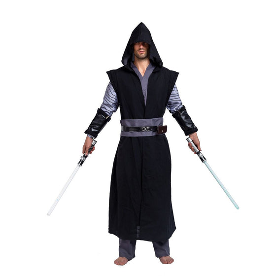 Master of Dark Fancy Gothic Costumes with Hooded Robe Cloak Tunic Outfit for Halloween Cosplay