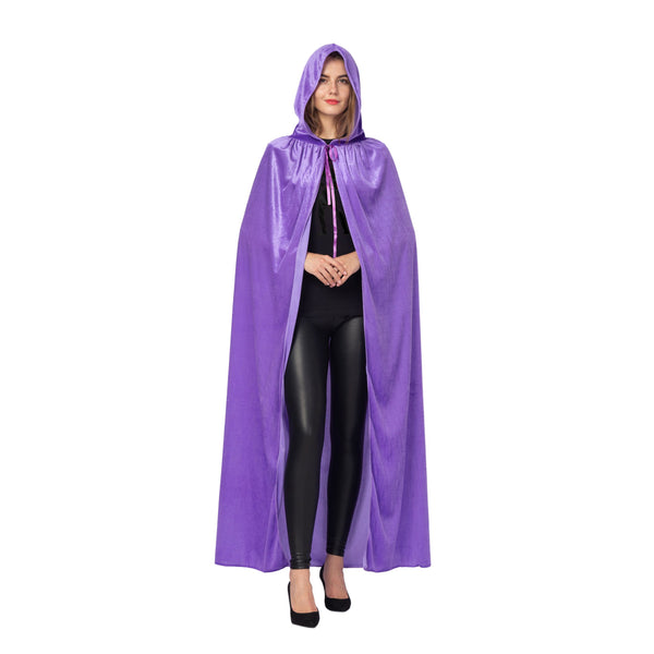 Long Hooded Velvet Cloak Halloween - Women