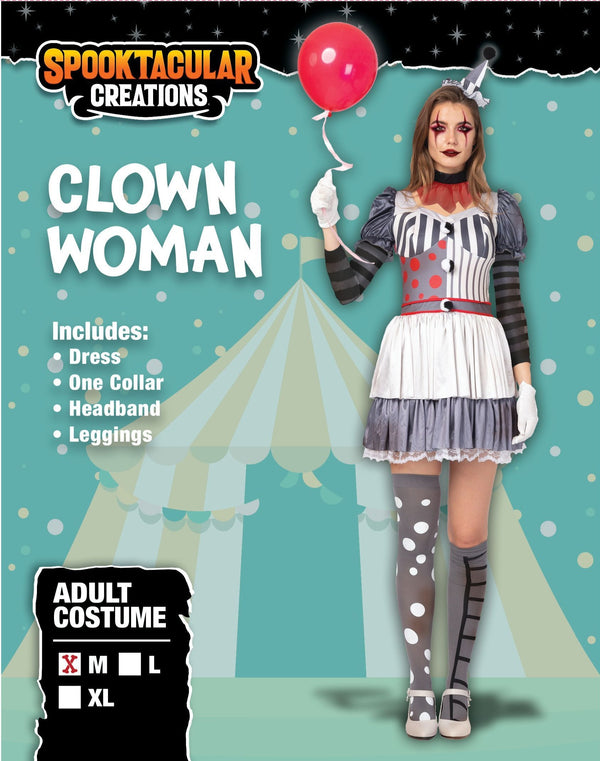 Sexy Creepy Evil Scary Clown Halloween Costume for Women - Adult