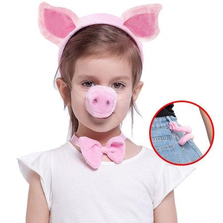 Pink Animal Costume Accessories Set with Pig Nose, Ears, Bowtie and Tail for Halloween Party, Farm Theme Dress Up, Classroom Role Play