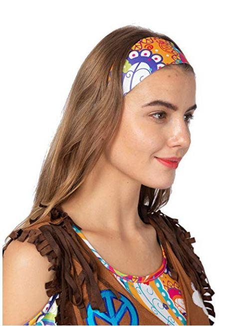 Peace Love 60s/70s Happy Hippie Costume for Women with Hippie Accessories