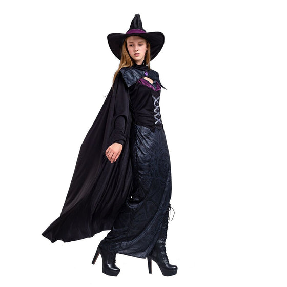 Gothic Wicked Purple Witch Halloween Costume Deluxe Set for Women