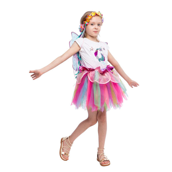 Pink Rainbow Fairy Princess Costume for Girls Dress Up with Tutu Dress and Accessories - Spooktacular Creations