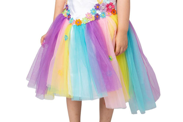 Unicorn Princess Rainbow Dress with Headband and Wings for Kids - Spooktacular Creations