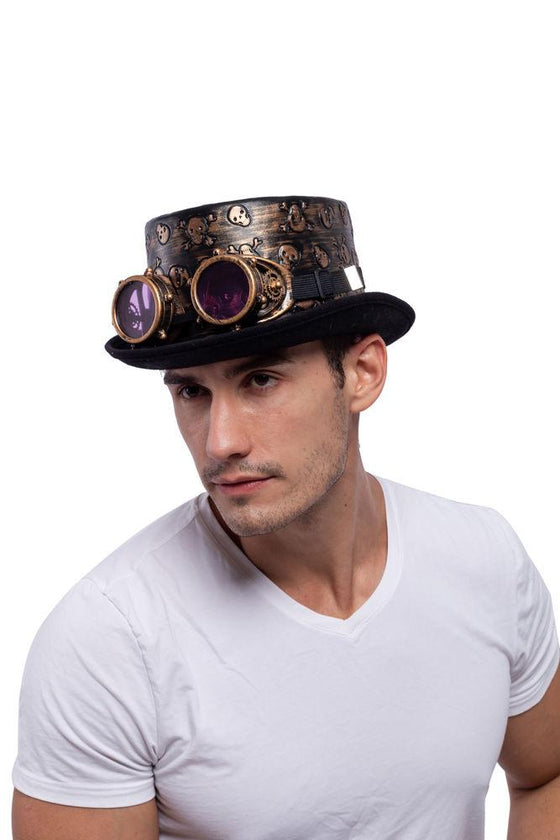 Victorian Steampunk Top Hat w/Classic Goggles Vintage Accessories Set for Adult