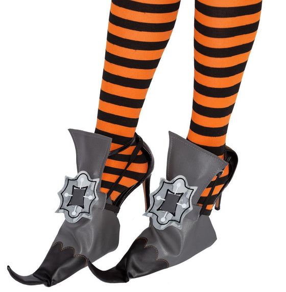 Unique Vintage Witch Shoe Cover w/Legging Accessories Set for Adult Halloween Dress Up Black