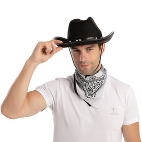 Black Cowboy Hat with 3 Bandana