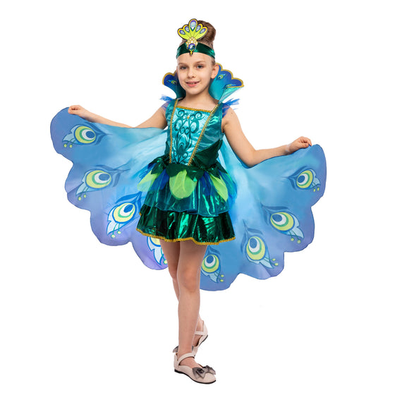 Peacock Dress with Feather Wings and Headband for Girls