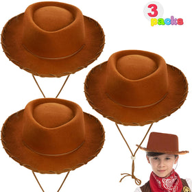 Children's Brown Felt Cowboy Hats, 3 Pack