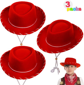 Children's Red Felt Cowboy Hats, 3 Pack