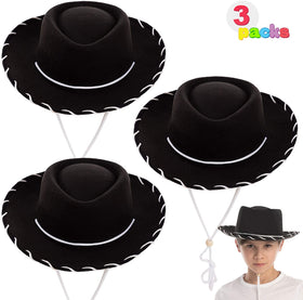 Children's Black Felt Cowboy Hats, 3 Pack