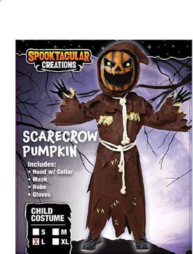 Scary Scarecrow Pumpkin Costume w/Pumpkin Halloween Mask for Kids