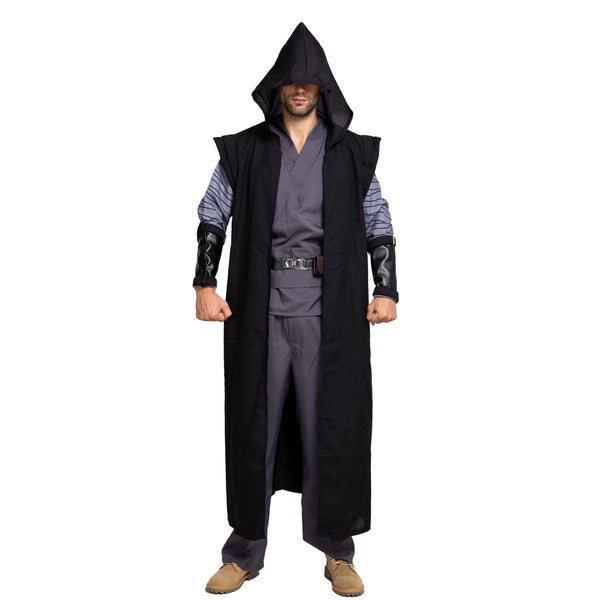Master of Dark Fancy Gothic Costumes with Hooded Robe Cloak Tunic Outfit for Halloween Cosplay - Spooktacular Creations