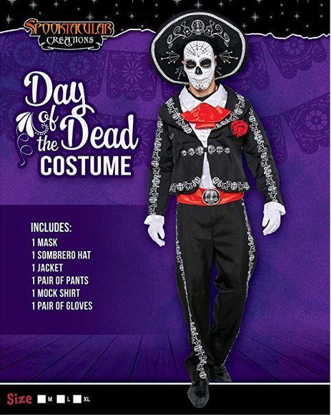 Men's Day The Dead Mariachi Senor Adult Costume Set Halloween Dress Up Party, Dia de Los Muertos - Spooktacular Creations