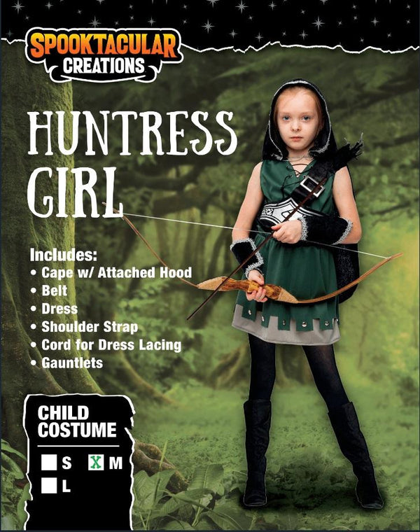 Warrior Night Hooded Huntress Costume for Halloween Tween Girls with Accessories - Spooktacular Creations